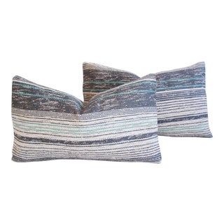 Custom French Gray & Teal Textile Down Pillows - A Pair