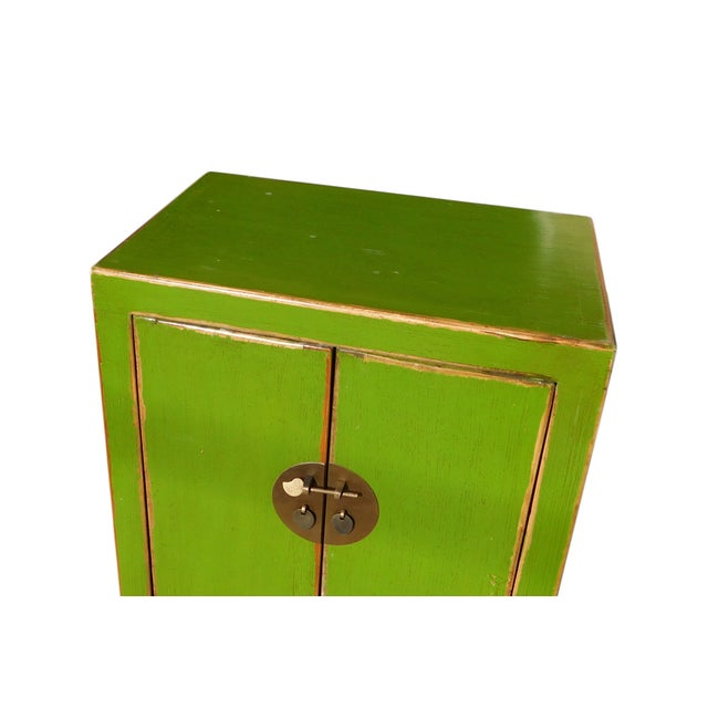 Chinese Rustic Lime Green End Table Nightstand - Image 4 of 6