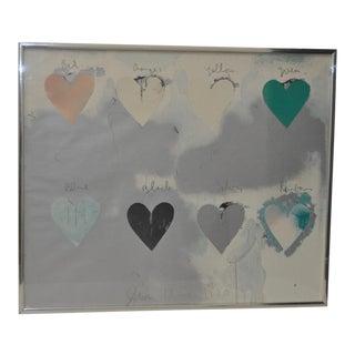 "Circa 1970 Jim Dine ""Hearts"" Print"