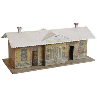 Vintage Painted Metal Miniature Train Depot