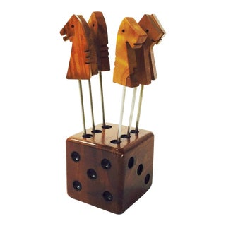 Vintage Dice and Horse Cocktail Pick Set - Set of 6