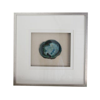 Silver Wood Framed Blue Agate Slice