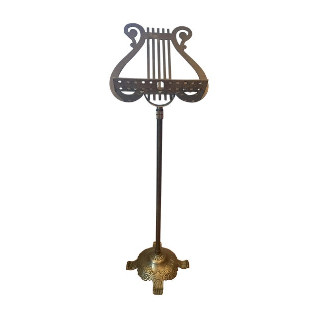Antique Neoclassical Brass Music Stand - Image 1 of 7