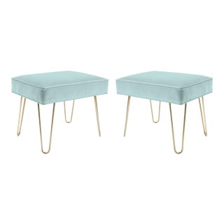 Montage Brass Hairpin Ottomans in Mint Velvet - Pair