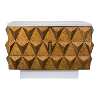 Outstanding Brutalist Diamond Relief Nightstand or End Table