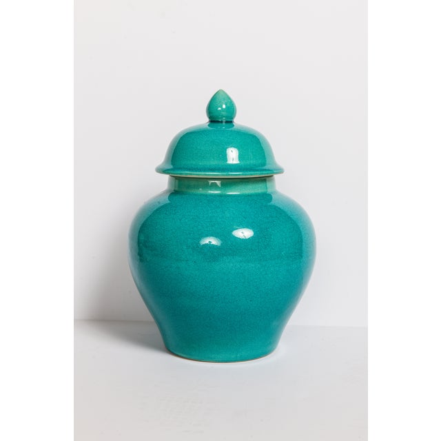 Turquoise Blue Urns - A Pair - Image 2 of 5