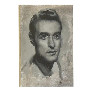 Vintage Attractive Young Male Portrait Oil Painting Study