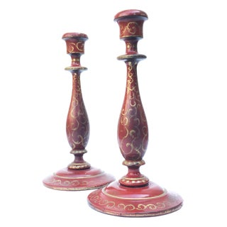 Vintage Florentine-Style Red Wooden Candlesticks - a Pair