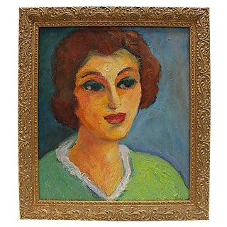 1950s French Painting Of A Woman