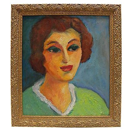 1950s French Painting Of A Woman - Image 1 of 2
