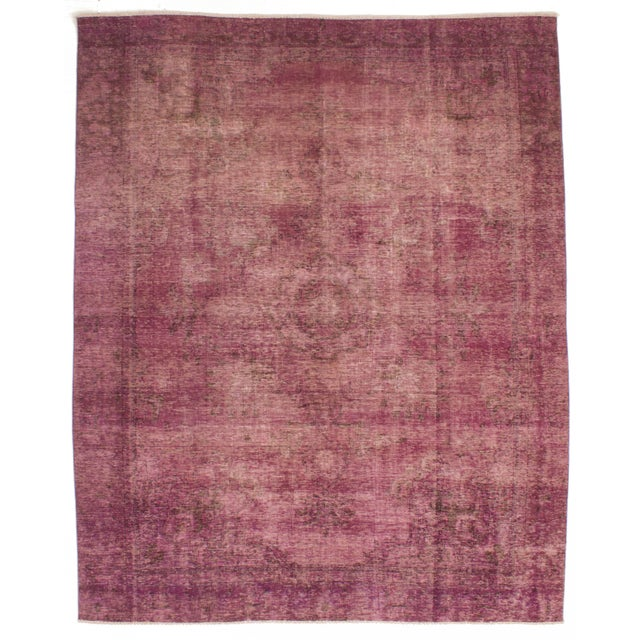 """Image of Pink Vintage Persian Overdyed Rug - 7'10"""" x 10'4"""""""