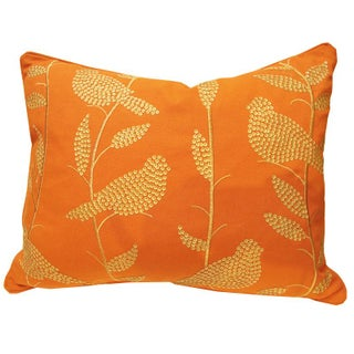 Sequined Orange Birdy Pillow