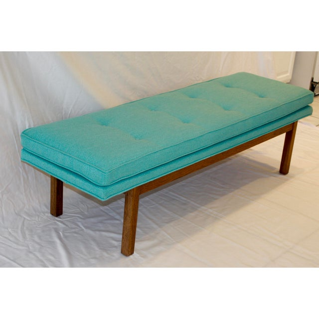 Mid-Century Tufted Turquoise Bench - Image 4 of 8