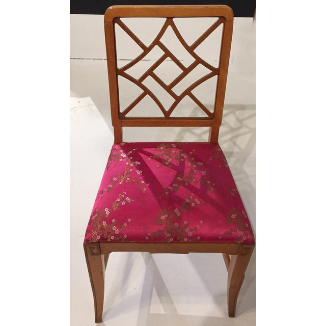 1940's Fretwork Greek Key Side Chair With Asian Upholstery - Image 7 of 9