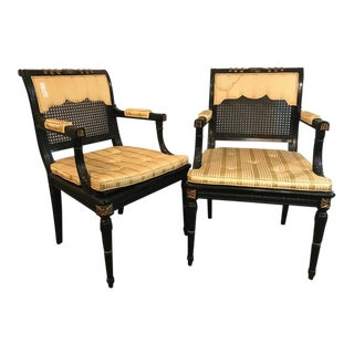 Hollywood Regency Pair of Ebony & Gilt Gold Arm Chairs Attributed Maison Jansen