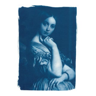 Limited Edition Ingres Portrait of Young Woman Cyanotype on Watercolor Paper