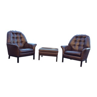 1960'S Modern Leather Lounge Chairs & Ottoman