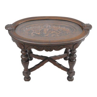Antique Figural Carved Walnut Tray Table