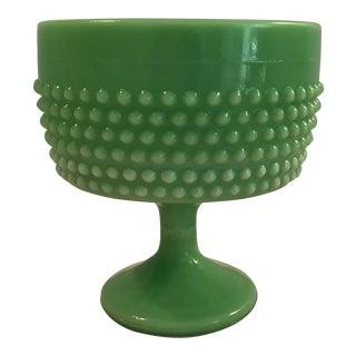 Fenton Style Mid-Century Green Milk Glass Dessert Bowl