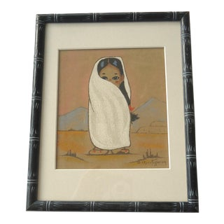 "Hand Colored ""Native American Girl"" Print"