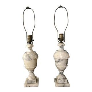 Antique Marble Table Lamps - A Pair