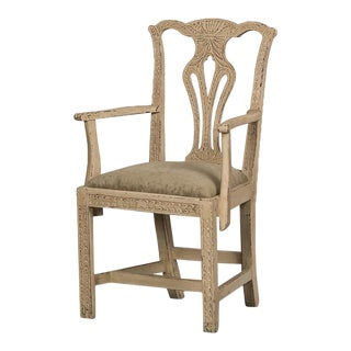 Chippendale Style Carved Painted Oak Armchair, England c. 1870