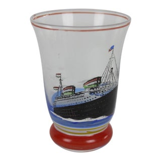 Vintage Shot Glass With Hand-Painted Steam Ship