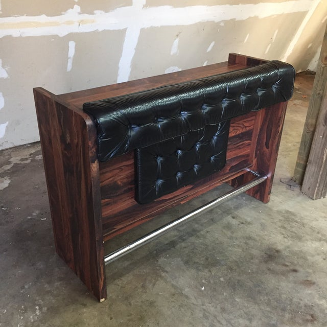1960s Vintage Black Leather Tufted Dry Bar - Image 2 of 11