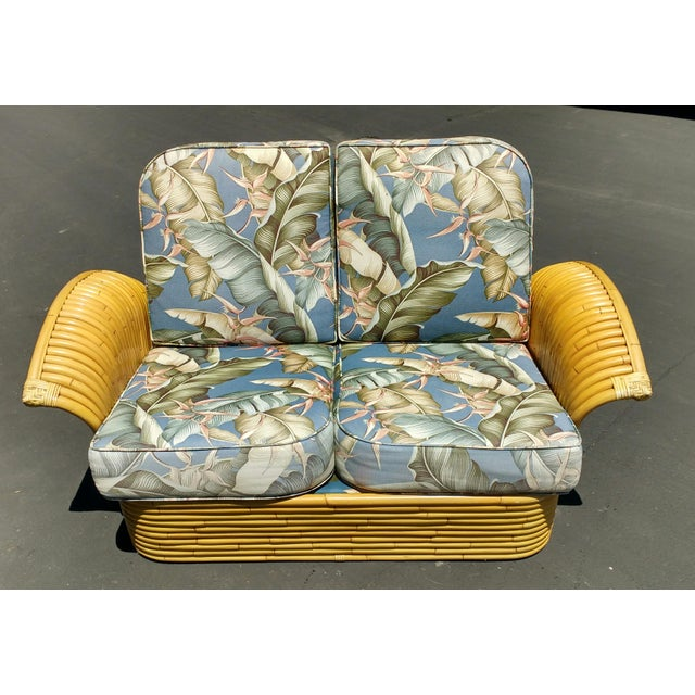 Art Deco Rattan Fan Arm 2 Seat Sofa - Image 2 of 8