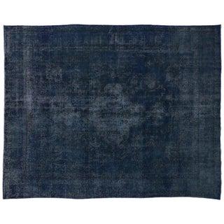 Vintage Persian Tabriz Overdyed Blue Rug - 9'7 X 12'3