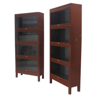 Pair of Metal Industrial Barrister Four Sections Bookcases Cabinets