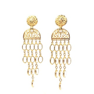 Balmain Gold & Crystal Shoulder Duster Earrings