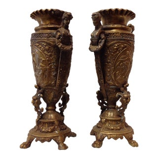 Antique Art Nouveau Brass Urn / Vase - Set of 2