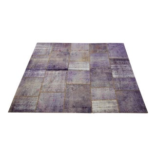 Vintage Turkish Overdyed Lavender Patchwork Oushak Distressed Rug - 6′5″ × 8′10″