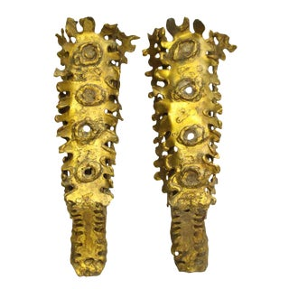 Unique Hand-Crafted Brutish Sconces with a Gilt Tone Finish - A Pair