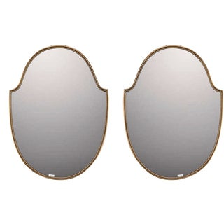 Italian Brass Modernist Mirrors - A Pair