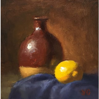 Alla-Prima Oil Still Life with Vase and Lemon