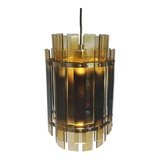 Smoked Lucite & Chrome Pendant Chandelier