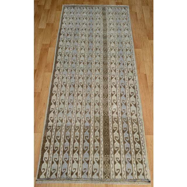 Hand-Knotted Turkish Antique Effect Rug - 3′ X 7′ - Image 3 of 9