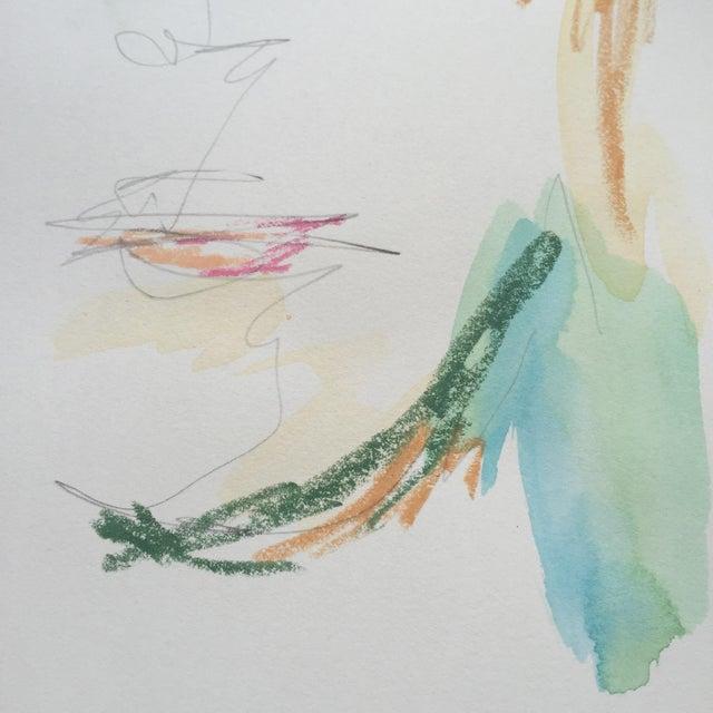 Lori Fox Watercolor & Oil Pastel Painting - Image 2 of 5