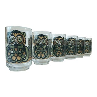 Libbey Mid-Century Owl Tumbler Glasses- Set of 6