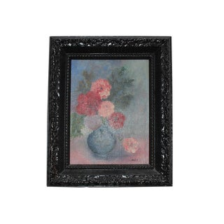 Vintage Oil Painting of Flowers in Vase