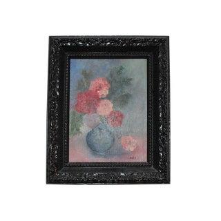 Vintage Oil Painting of Flowers in Vase