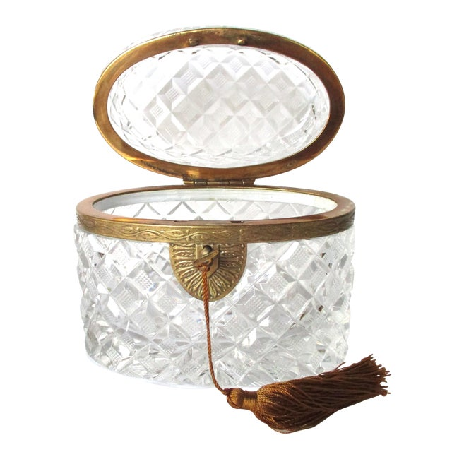 Image of Antique Oval Lead Crystal Casket With Key