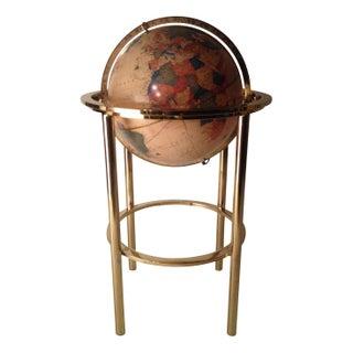 70s Modern Brass Floor Globe in Mastercraft Style