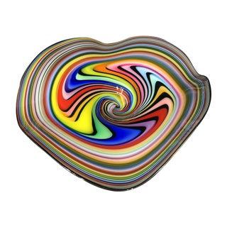Multicolor Free Form Art Glass Bowl