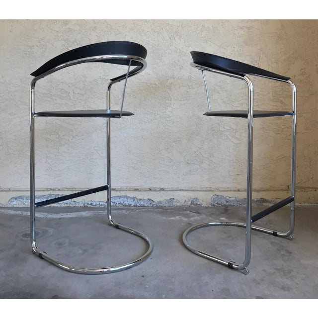 Image of Modern Bar Stools In The Style of Anton Lorenz for Thonet- A Pair