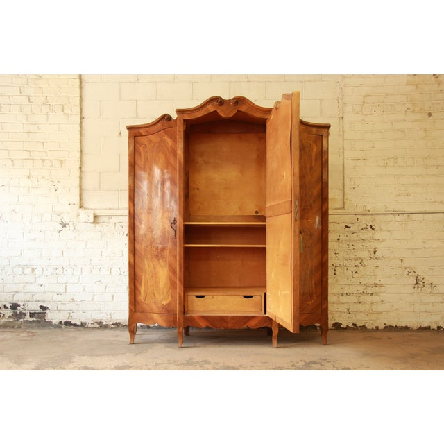 1870's Burled and Inlaid French Knockdown Wardrobe - Image 5 of 11