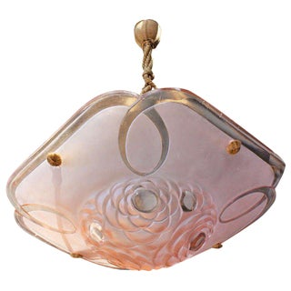 Degué French Art Deco Pink Art Glass Suspension Fixture