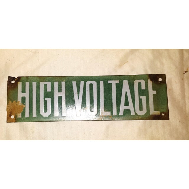 Vintage Green Porcelain High Voltage Sign - Image 4 of 6